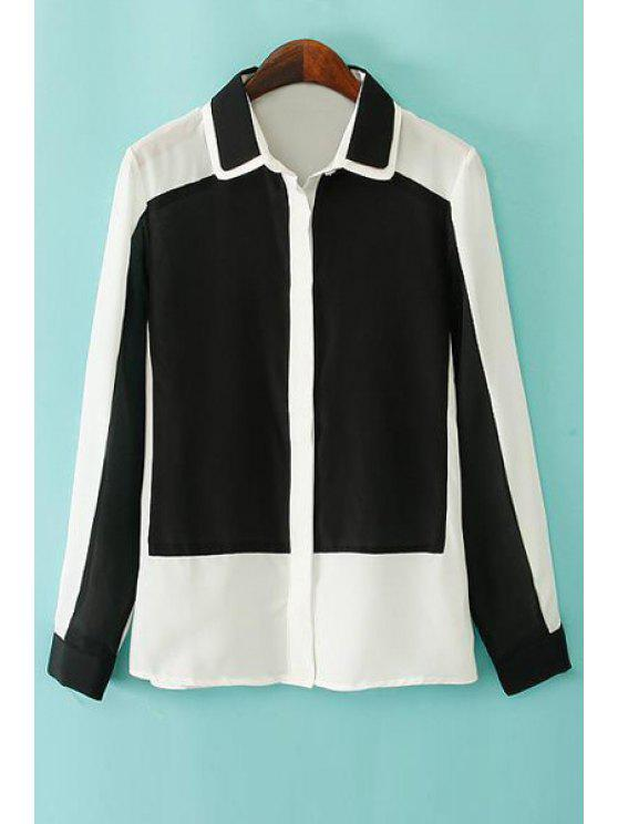 sale Long Sleeve Hit Color Chiffon Shirt - WHITE S