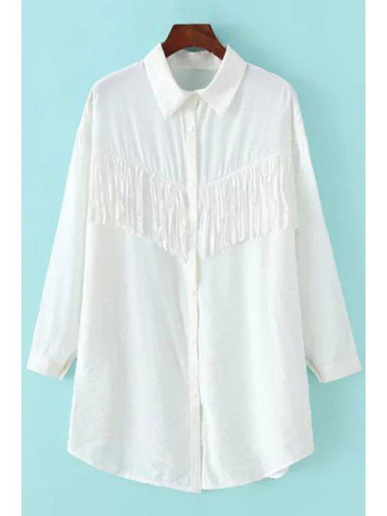 shop White Tassels Turn Down Collar Long Sleeve Shirt - WHITE M