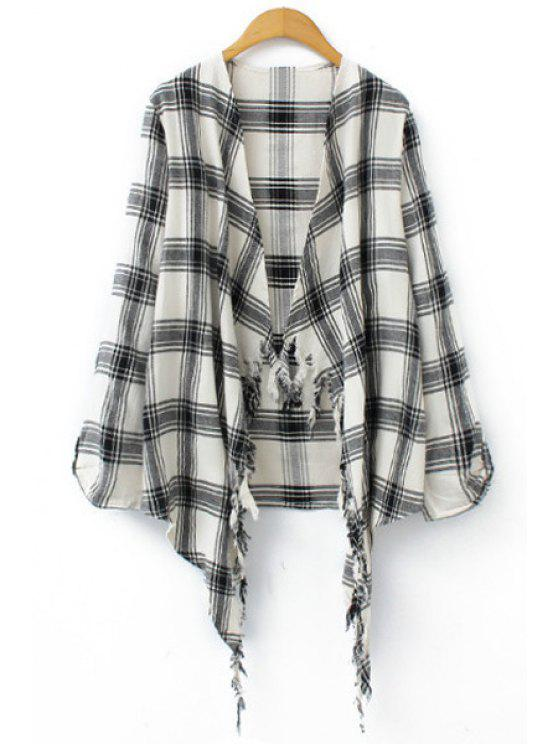 latest Plaid Print Long Sleeve Blouse - WHITE AND BLACK S