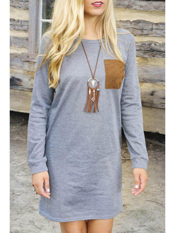 outfit Long Sleeve Patchwork Elbow Dress - GRAY S