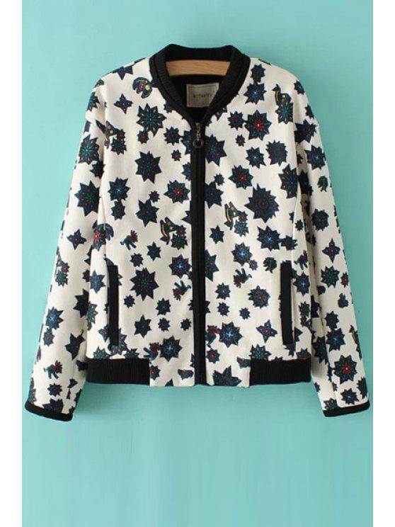 chic Print Stand Collar Long Sleeve Jacket - WHITE S