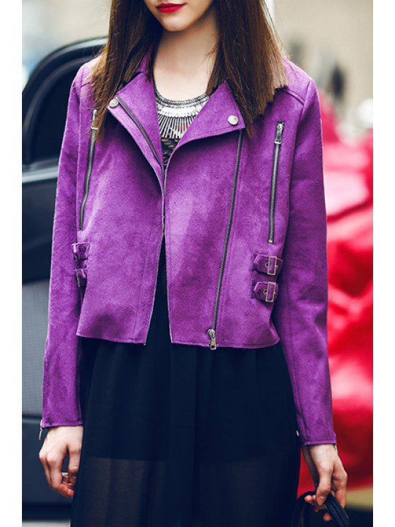 lady Zippered Purple Suede Jacket - PURPLE S