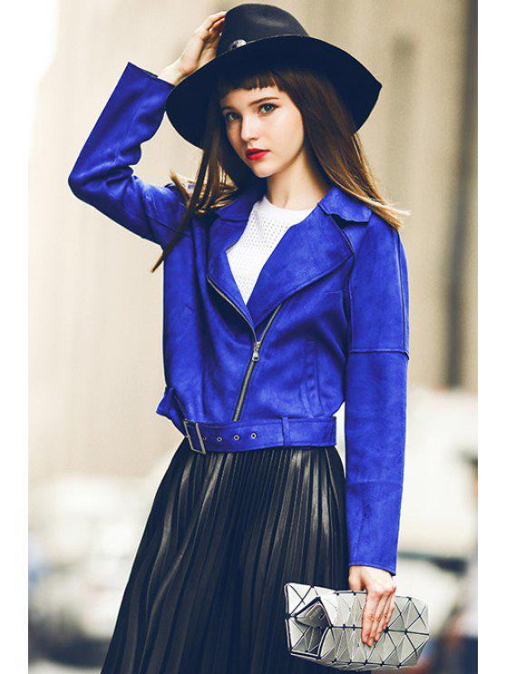 ladies Sapphire Blue Turn Down Collar Jacket - SAPPHIRE BLUE XL