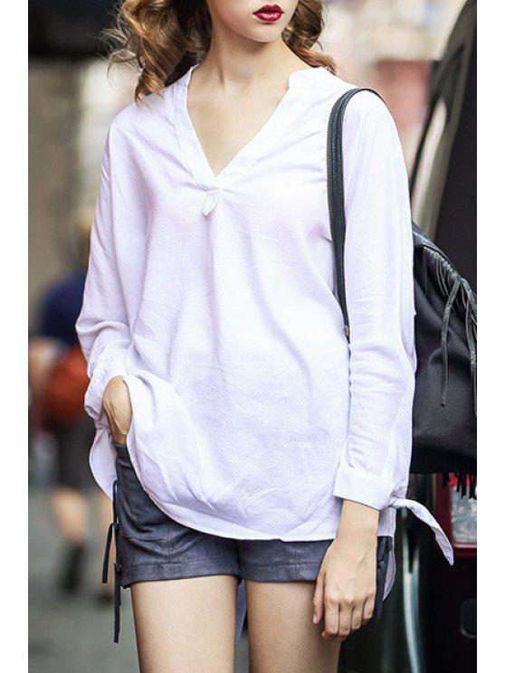womens V-Neck Lace-Up White Blouse - WHITE S