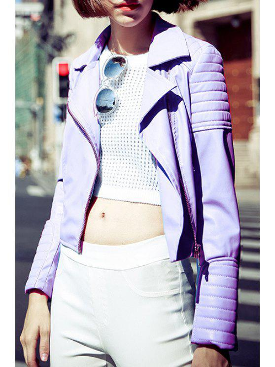 lady Purple PU Leather Lapel Long Sleeve Jacket - PURPLE S