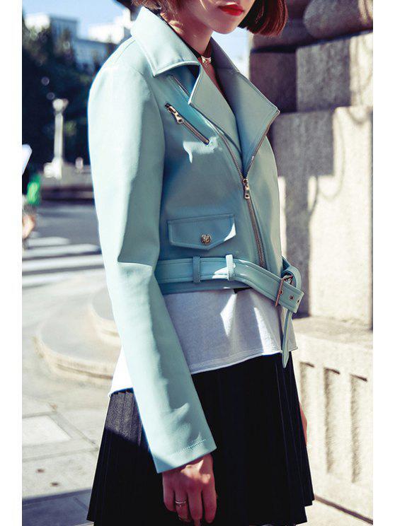 hot Blue PU Leather Lapel Neck Jacket - LIGHT BLUE S