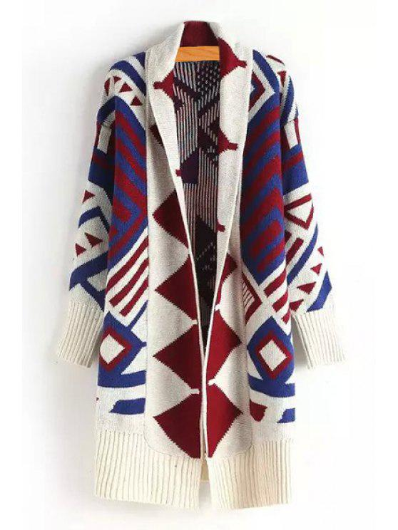 lady Geometric Print Long Sleeves Flat Collar Cardigan - COLORMIX S