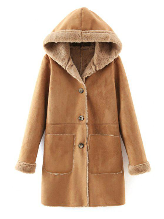 shops Faux Suede Hooded Solid Color Thicken Coat - KHAKI S