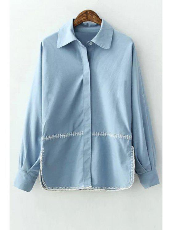 sale Side Slit Flat Collar Long Sleeves Blue Shirt - BLUE S