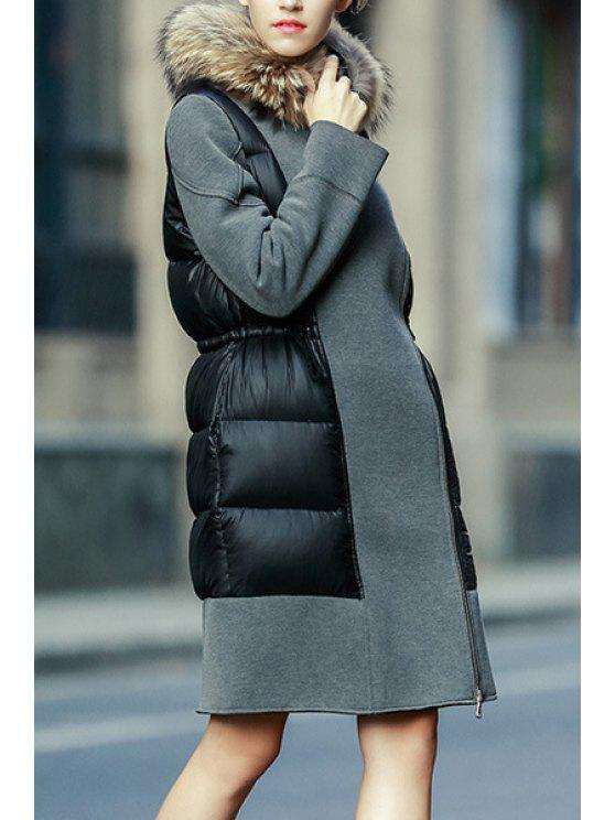 shops Faux Fur Collar Drawstring Down Coat - GRAY S