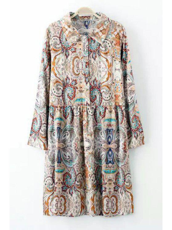 unique Floral Print Button Flat Collar Long Sleeves Dress - COLORMIX M
