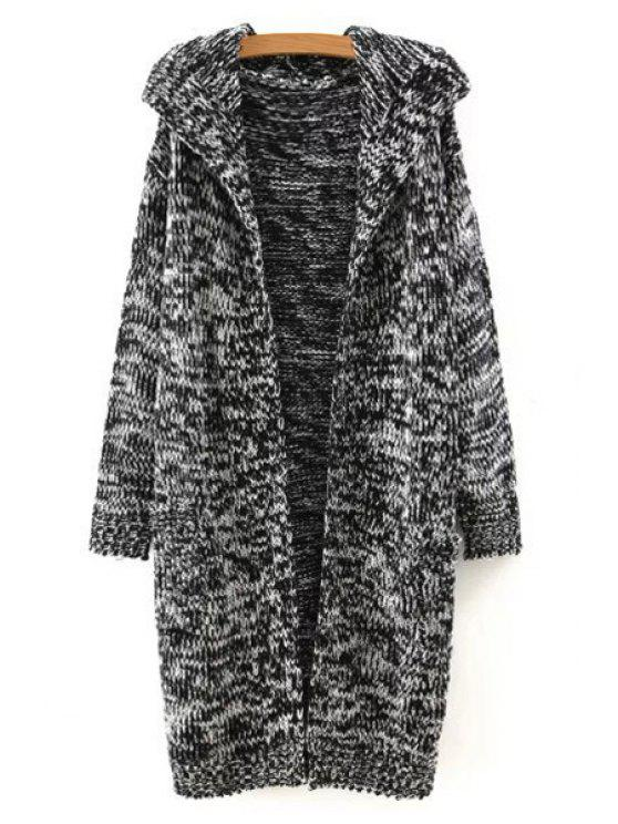 hot Hooded Two Pockets Longline Cardigan - BLACK ONE SIZE(FIT SIZE XS TO M)