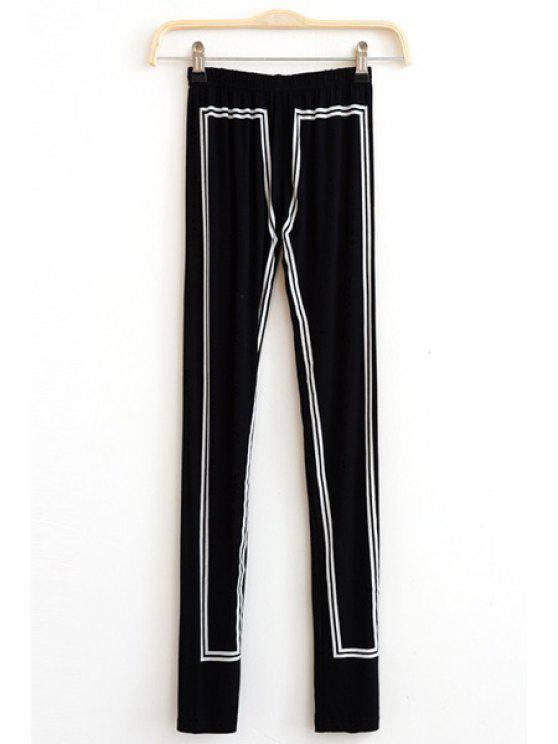 Legging Skinny Contrastant à Taille Élastique - Noir Taille Unique(S'adap