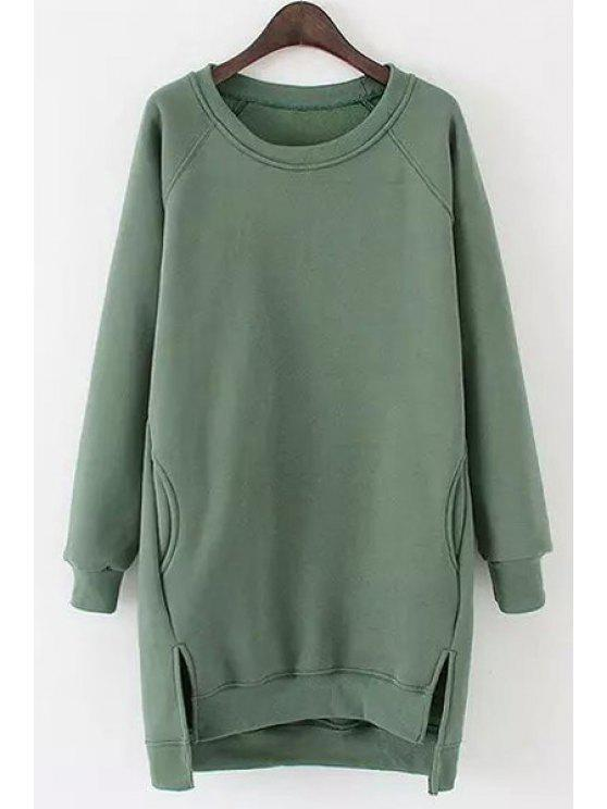 ladies Side Slit Pocket Design Long Sweatshirt - GREEN ONE SIZE(FIT SIZE XS TO M)