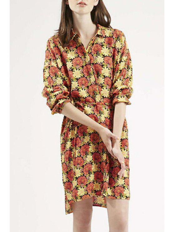 chic Long Sleeve Full Floral Shirt Dress - COLORMIX L