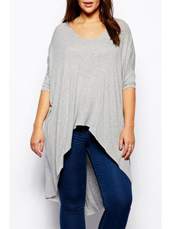 new Irregular Hem Round Collar Long Sleeves Pure Color T-Shirt - GRAY S