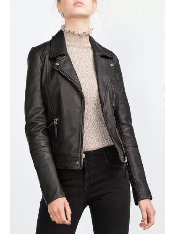 ladies Lapel Zip Pockets PU Leather Jacket - BLACK S