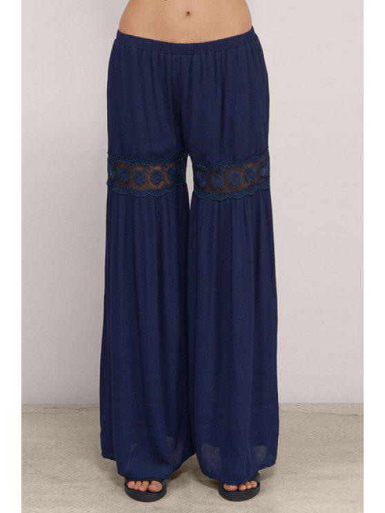 outfits Lace Spliced Blue Women's Palazzo Pants - BLUE L