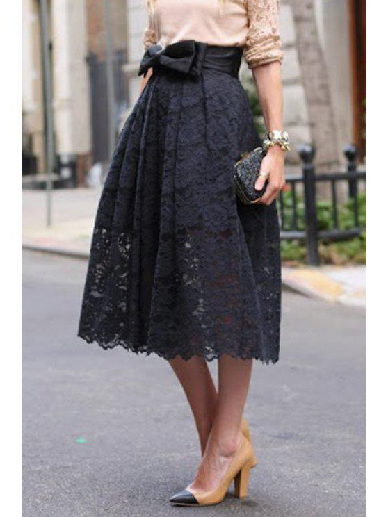 latest High-Waisted Bowknot Lace Skirt - BLACK S