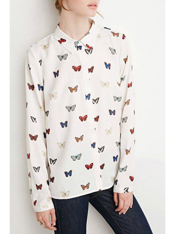 chic Butterfly Print Flat Collar Long Sleeves Shirt - WHITE XS