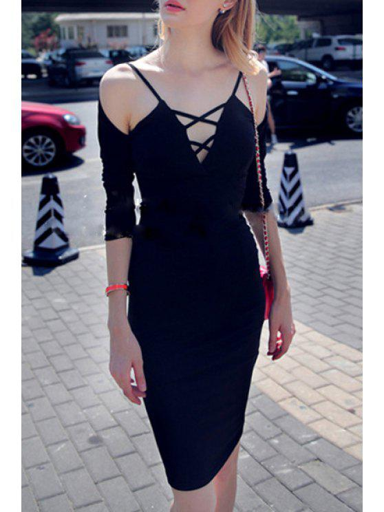 women Deep V Neck Solid Bodycon Dress - BLACK S