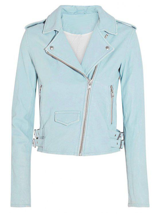 chic Lapel PU Leather Cropped Jacket - BLUE S
