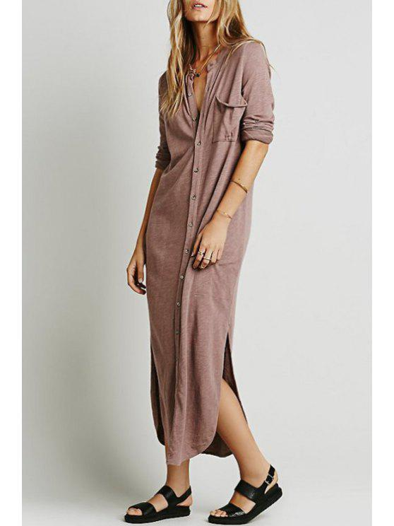 latest Stand Neck Single-Breasted Maxi Dress - SHALLOW PINK S