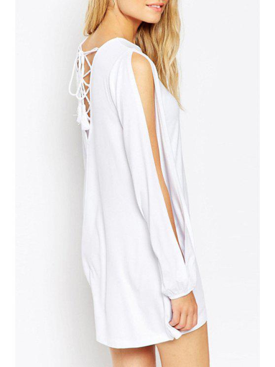 outfits Cut Out Solid Color Long Sleeves Cross Lace-Up Dress - WHITE XS