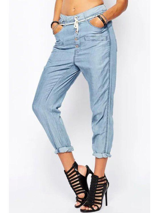hot Light Blue Drawstring Harem Jeans - LIGHT BLUE S