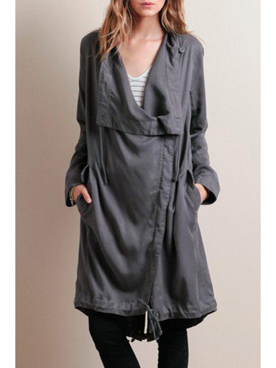 sale Solid Color Long Sleeves Waisted Irregular Hem Trench Coat - GRAY XS