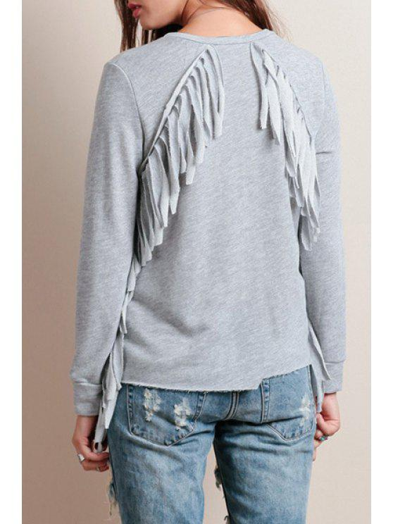 ladies Back Tassels Solid Color Round Collar Long Sleeves T-Shirt - GRAY XS