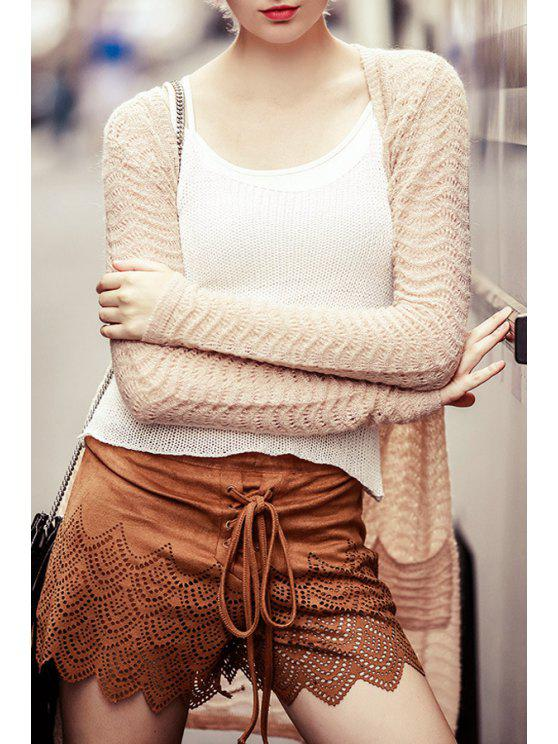 fancy Hollow Collarless Long Sleeves Cardigan - NUDE S