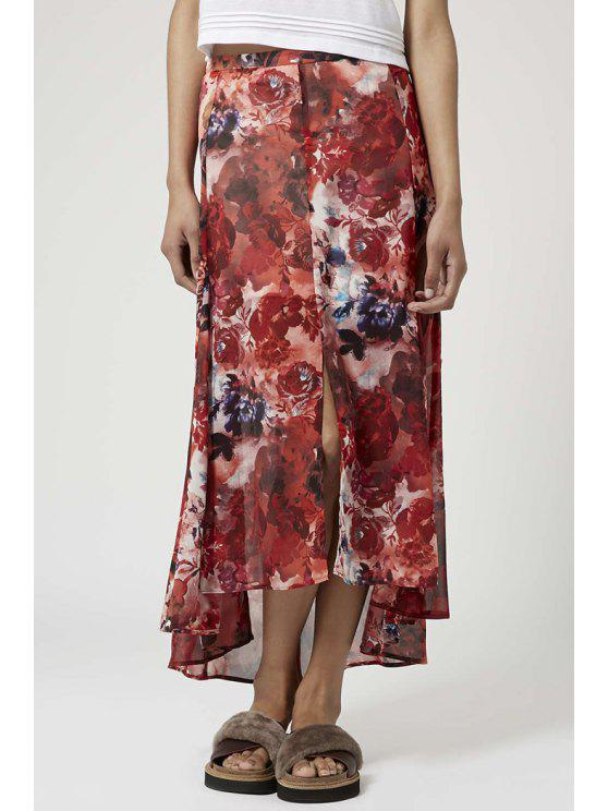 affordable Printed Front Slit High Low Skirt - RED S