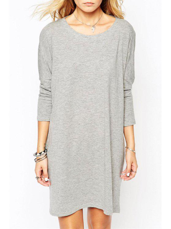 sale Gray Scoop Neck Long Sleeve Dress - GRAY S