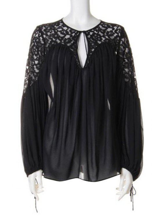 latest Lace Patchwork Chiffon Blouse - BLACK ONE SIZE(FIT SIZE XS TO M)