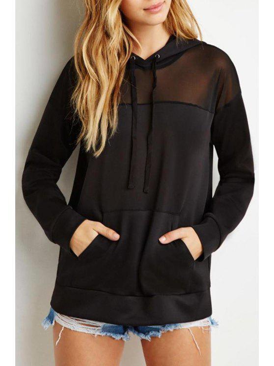best Voile Spliced Long Sleeves Pocket Black Pullover Hoodie - BLACK XL