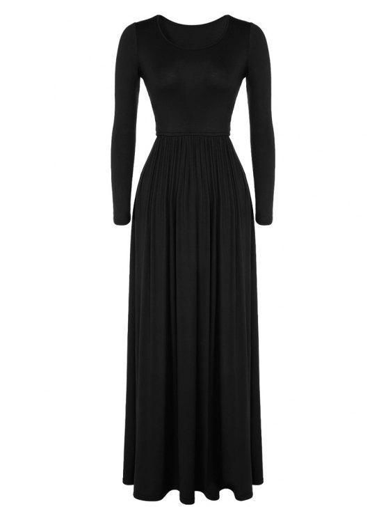 best Pleated Solid Color Long Dress - BLACK L