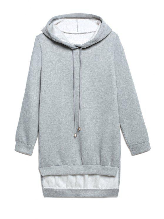 lady Hooded High Low Grey Hoodie - GRAY S