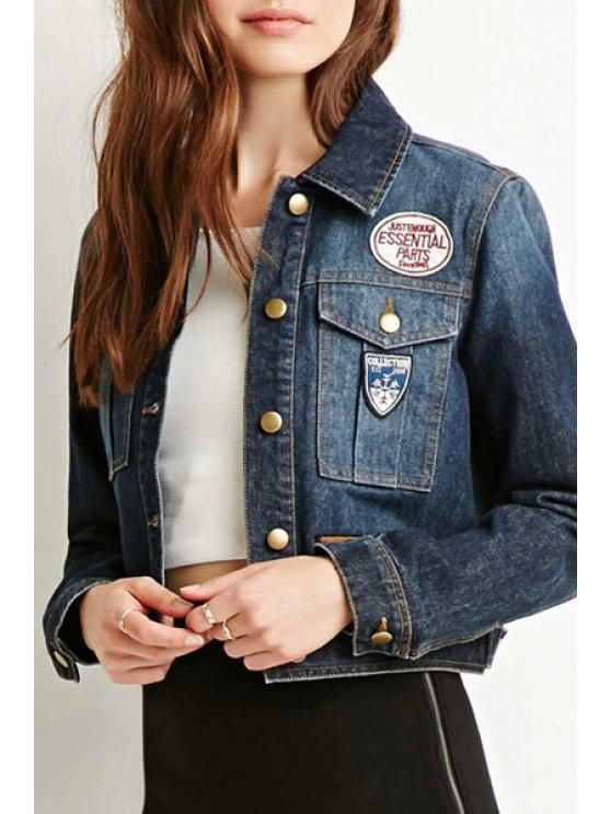 womens Short Patch Denim Turn-Down Collar Long Sleeves Jacket - BLUE XS