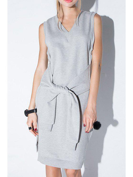 affordable Solid Color V-Neck Sleeveless Side Slit Dress - GRAY XL