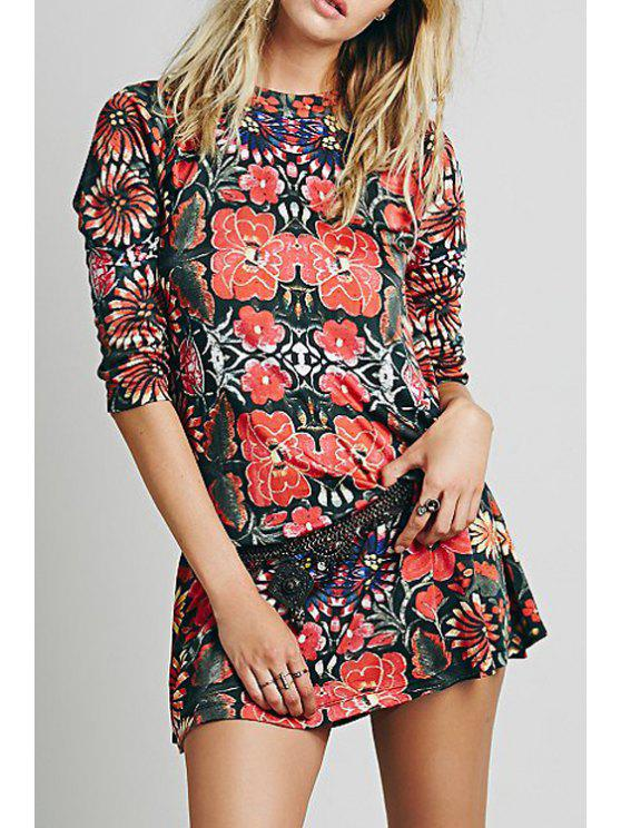 buy Stand Neck Floral Tunic Dress - COLORMIX XS