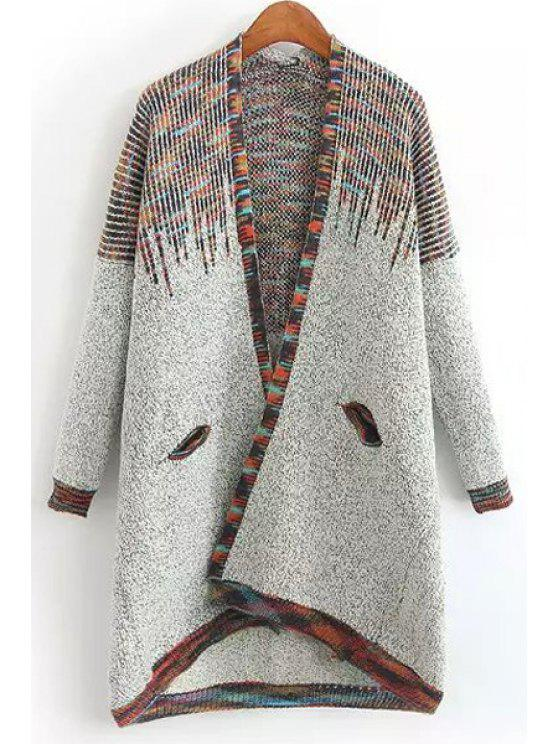 affordable Colored Long Sleeve Long Cardigan - LIGHT GRAY ONE SIZE(FIT SIZE XS TO M)