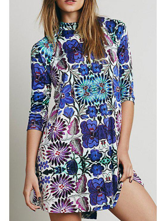ladies Stand Neck Blue Floral Tunic Dress - COLORMIX XS