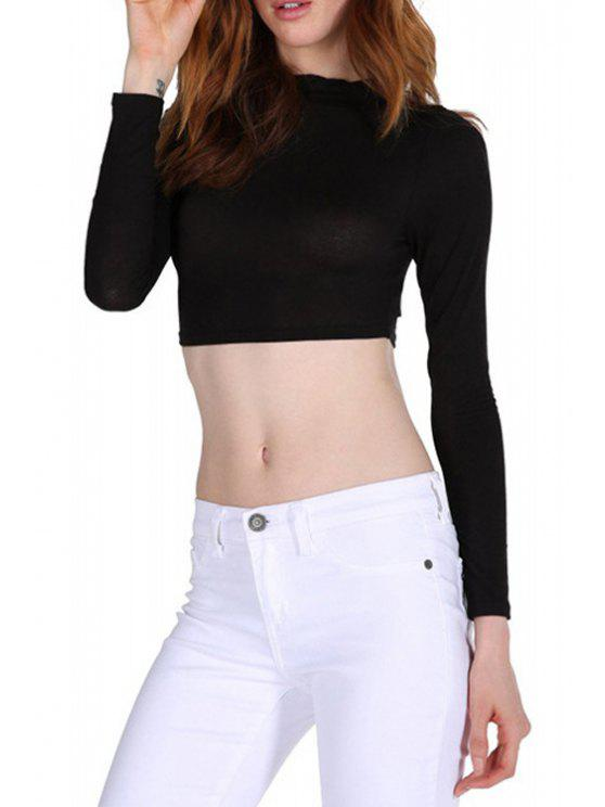 outfit Crop Top Pure Color Stand Collar Long Sleeves T-Shirt - BLACK XS