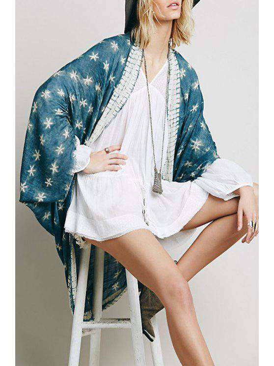 chic Collarless Star Pattern Cape - GREEN ONE SIZE(FIT SIZE XS TO M)