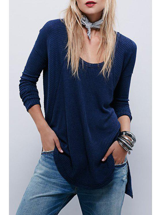 outfit Side Slit Deep Blue T-Shirt - DEEP BLUE S