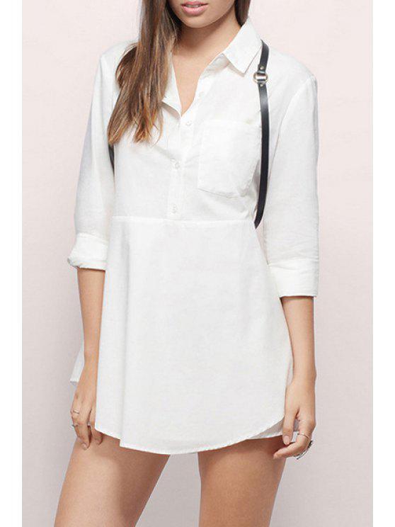 Robe à manches longues à manches longues - Blanc XL