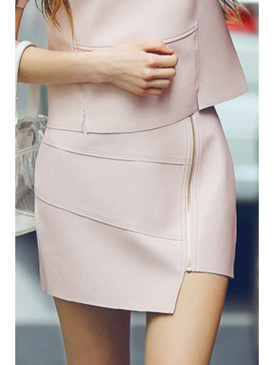 fancy Faux Leather Solid Color Mini Skirt - PINK L