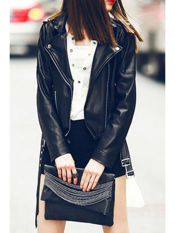 shops Black PU Leather Lapel Long Sleeves Jacket - BLACK S