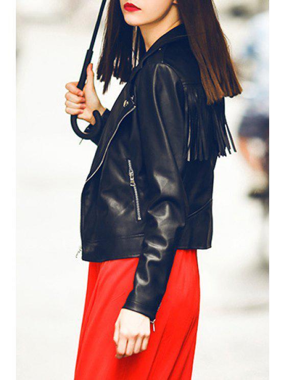 online Tassels PU Leather Lapel Long Sleeve Jacket - BLACK L